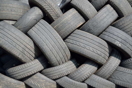 caoutchouc: collected old car tires - close-up