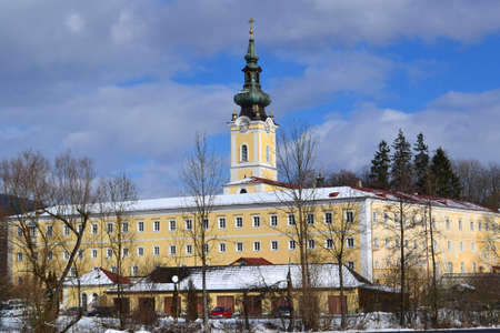 upper austria: monastery Schlaegl in Upper Austria in the winter Stock Photo