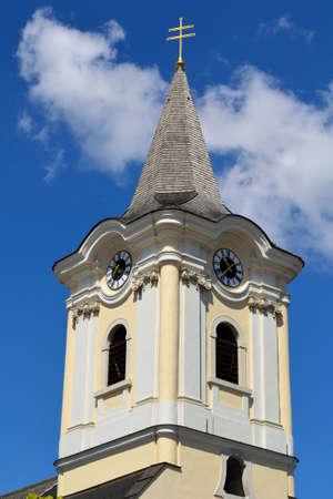 church tower: Detail of the church tower in Podersdorf, Burgenland - Austria