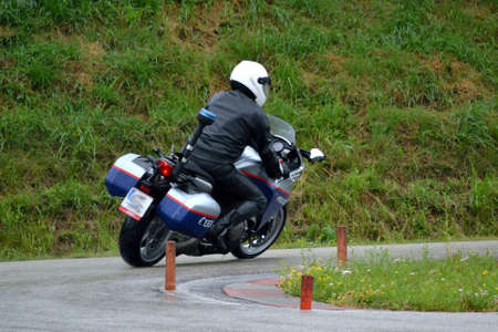 crash helmet: motorcycle driving course on practice area Stock Photo
