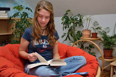 Teenager reads and scrolls straight to
