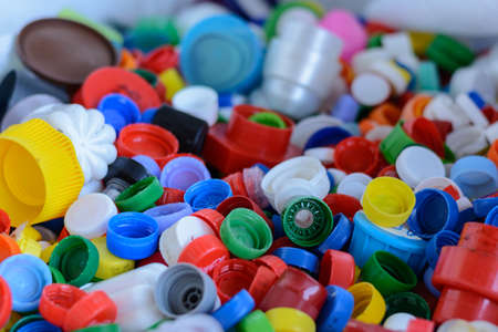 dissimilarity: colorful Screw caps for plastic bottles - Recycling