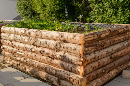 planted: planted raised bed of rustic logs