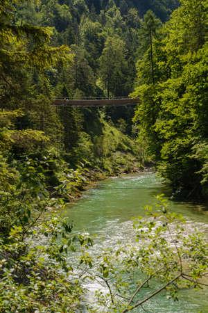 regionally: Mountain river Salza and suspension bridge in the gorge - Palfau, Austria