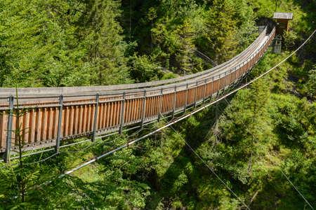 unsound: Footbridge to Wasserlochklamm in Palfau - popular destination, Austria Stock Photo