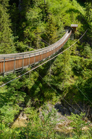 unsound: Suspension Bridge in Wasserlochklamm in Palfau - Austria Stock Photo