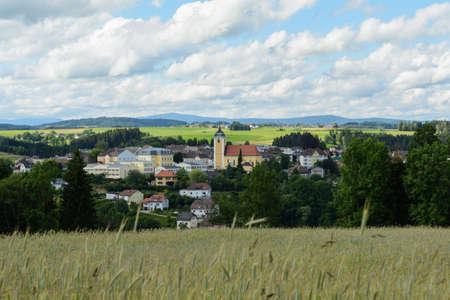a rural community: Municipality Neufelden amid rolling romantic landscape - Austria