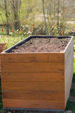Self-made raised bed filled with shrubs and earth