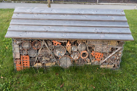 free-standing and unusually large insect house - close-up insect hotel