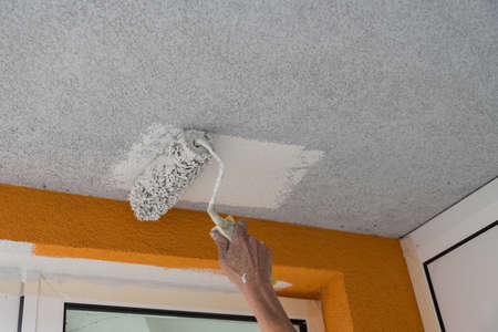 Skilled worker strokes paint on the wall with paint roller - detail Stock Photo