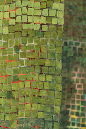 Green mosaic with mirror function and as wall hanging - detail