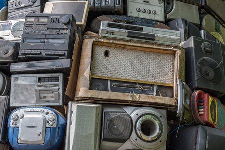 historical radios in retro style - old, nostalgic radios Editorial