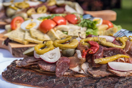 Varied food on a healthy and rustic cold plate - buffet Reklamní fotografie