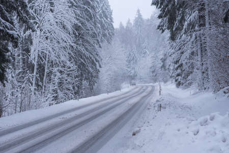 bad driving conditions due to snowy roads - onset of winter