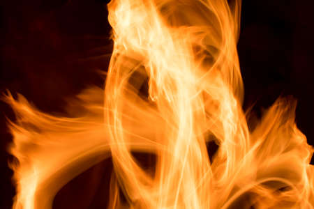 Fire of a heater in long exposure - close-up