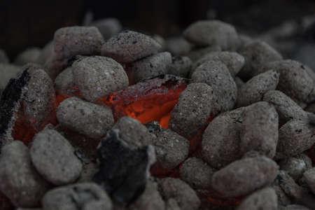 blazing charcoal - embers nest and embers, glowing embers Standard-Bild
