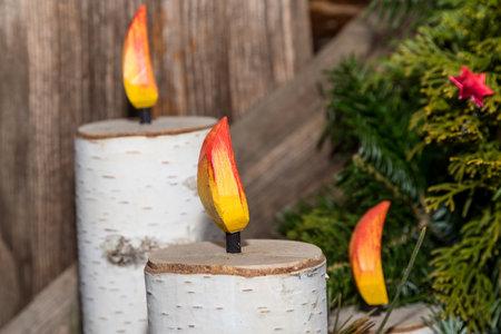 Original Christmas decoration - birch candles, Advent season