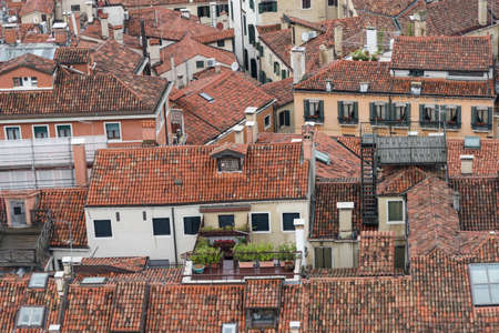 Aerial view on roofs of the old town of Venice - detail