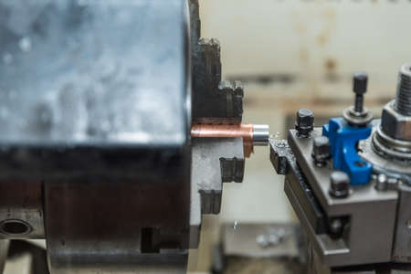 Manufacturing technology with a lathe for metalworking - close-up