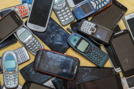 Valuable raw materials collected for recycling - old cell phones had their day