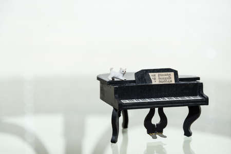 small white house cat stands on a piano - model figures