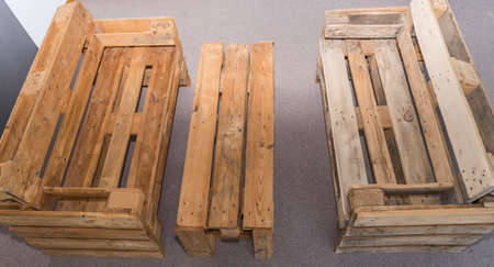 Furniture made from wooden pallets - wooden bench and table as garden furniture