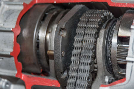 The gearbox form transfer case in detail - close-up gearbox