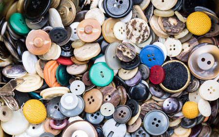 Collection of various colorful buttons - accessories and sewing utensils