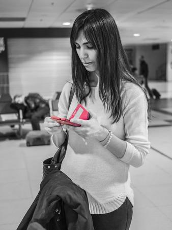 waits: young woman waits flight delayed