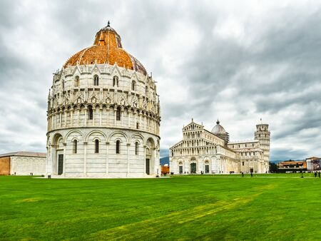 piazza dei miracoli: square tourist tower pisa, cathedral and baptistery, piazza dei Miracoli Stock Photo