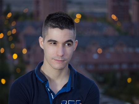 raised eyebrow: man looking right eyebrow raised