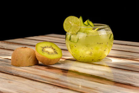 Refreshing kiwi flavored drink, served in a very large glass