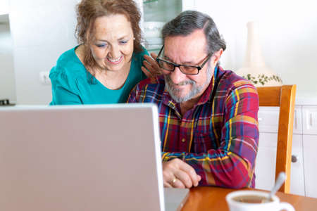 Older couple smiling at home in front of their laptop screen. Stay home and new communications concept. Stock fotó - 149401039