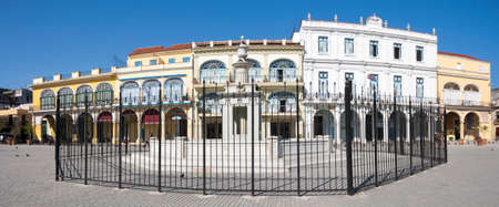 Panoramic view of Plaza Vieja in Havana with clear blue sky. Cuba 写真素材