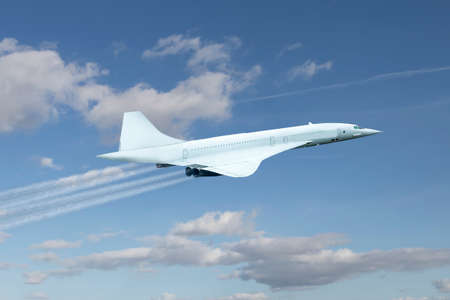 Supersonic passenger airliner flying over clouds