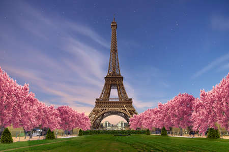 Eiffel tower from Camps of Mars at sunset