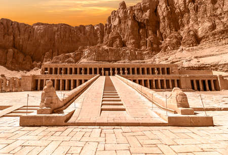 The Mortuary Temple of Hatshepsut, also known as the Djeser-Djeseru. Built for the Eighteenth Dynasty pharaoh Hatshepsut, it is located beneath the cliffs at Deir el-Bahari on the west bank of the Nile near the Valley of the Kings