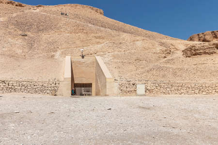 The Valley of the Kings, also known as the Valley of the Gates of the Kings, is a valley in Egypt where, for a period of nearly 500 years, rock cut tombs were excavated for the Pharaohs Stock Photo