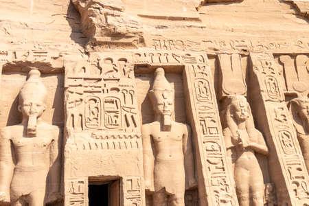 Edfu, Egypt - September 14, 2018: Edfu Temple, Dedicated to the Falcon God Horus, Located on the west bank of the Nile, Edfu, Upper Egypt
