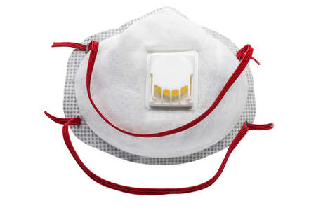 View of Disposable Respirator Mask FFP3, FFP2. Protection against Covid-19, particles, gases. Fine dust medical mask FFP 3 with breathing valve