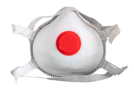 View of Disposable Respirator Mask FFP3, FFP2. Protection against Covid-19, particles, gases. Fine dust medical mask FFP 3 with breathing valve Foto de archivo