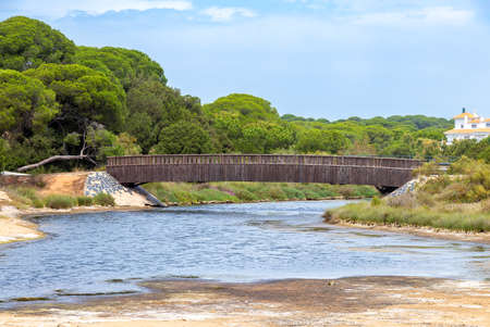 "Bridge over Los Gamonales stream ""Arroyo de los Gamonales"" in the beach of El Portil, Huelva"