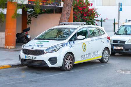 Punta Umbria, Huelva, Spain - July 10, 2020: Car of Spanish police  with