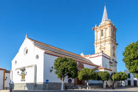 Parish of San Bartolome Apostol in the town of Beas, Huelva, Andalucia, Spain 免版税图像