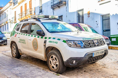 Huelva, Spain - August 16, 2020: Dacia Duster vehicle of the Environmental Agents of the Junta de Andalucia. Police that guards the natural heritage and investigates environmental crimes
