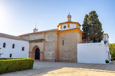 Santa Maria monastery in La Rabida. Rabida Monastery is a Franciscan monastery in the village of Palos de la Frontera, where Christopher Columbus planned his first trip to America. Andalusia, Spain