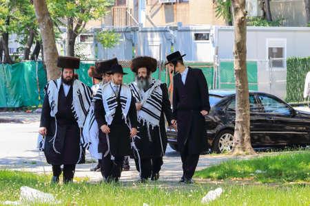 New York City, USA - June 10, 2017: Orthodox Jews Wearing Special Clothes on Shabbat, in Williamsburg, Brooklyn, New York Editorial
