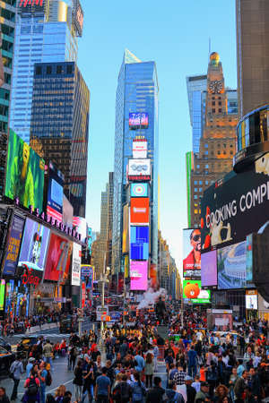 New York City, USA - June 7, 2017: View of Times Square from the TKTS red stairs Editorial