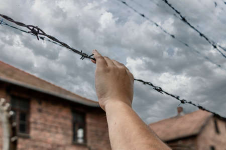 A woman's hand grasping barbed wire