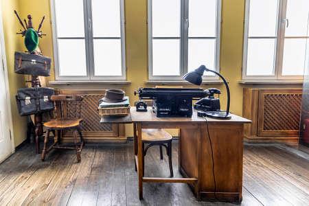 Krakow, Poland - June 3, 2018: Original office used by Oskar Schindler secretary to write the Oskar Schindler's list. On display in Oskar Schindler's Enamel factory museum